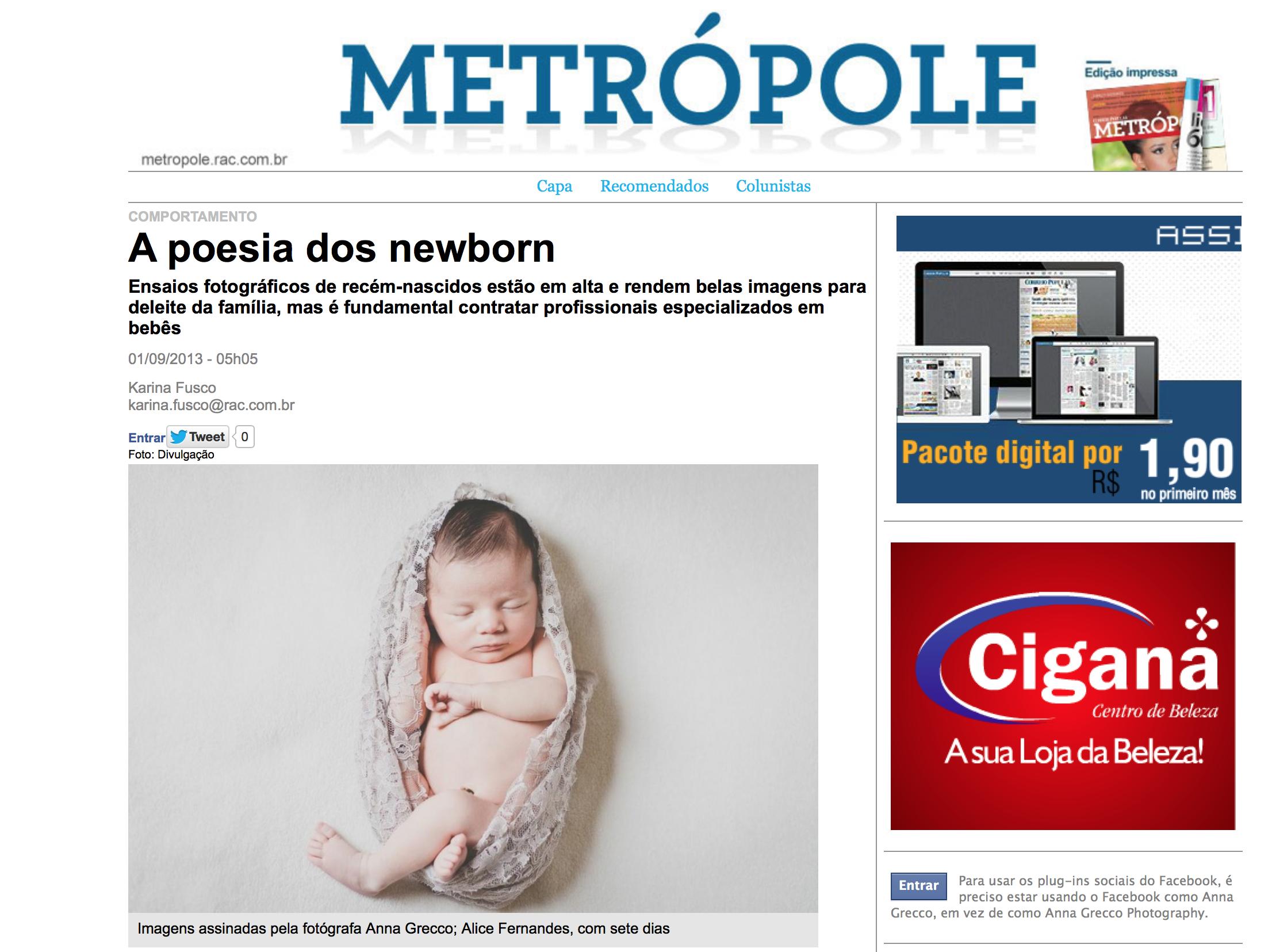 Correio Popular resvita Metrolope Newborn Anna Grecco www.annagrecco.com.br Instagram fotos de bebes recem-nascido
